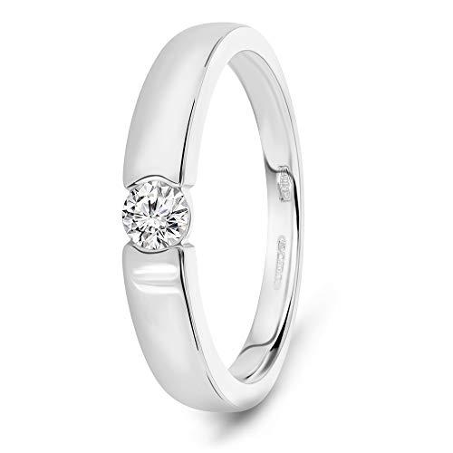 Miore Ring Damen 0.13 Ct Solitär Diamant Verlobungsring aus Weißgold 14 Karat / 585 Gold, Schmuck
