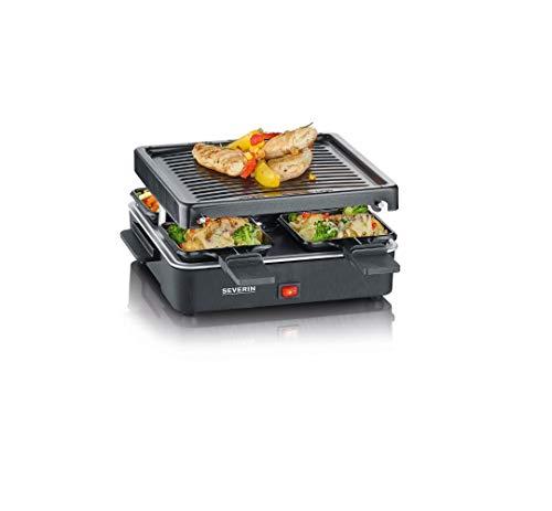 SEVERIN Mini Raclette-Grill, kleines Raclette mit antihaftbeschichteter Grillplatte und 4 Raclette Pfännchen, Tischgrill für bis zu 4 Personen, 600 W Leistung, schwarz, RG 2370