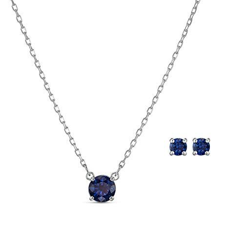 Swarovski Attract Round Set, Rhodinierte Halskette und Ohrringe mit Funkelnden Blauen Swarovski Kristallen