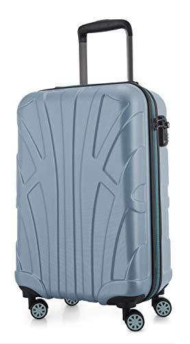 Suitline Handgepäck Hartschalen-Koffer Koffer Trolley Rollkoffer Reisekoffer, TSA, 55 cm, ca. 34 Liter, 100% ABS Matt, Pool Blue