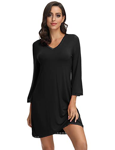 Zexxxy Nachthemden für Damen Langarm V-Ausschnitt Kleid Spitze Nachthemd Schlafkleid Schwarz M