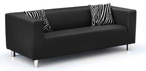 Collection AB 3-Sitzer Sofa Cube 183 x 85 x 65 cm, PU, schwarz