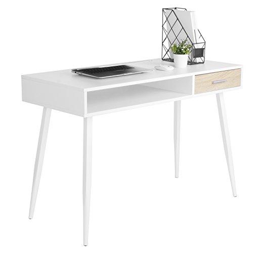 WOLTU® Schreibtisch TS39ws Computertisch Bürotisch Arbeitstisch PC Laptop Tisch, in Melamin, mit 1 Schubladen und 1 offenen Fach, Gestell aus Stahl, 110x50x75cm(BxTxH), Holz, Weiß