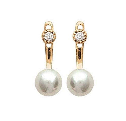 Vorne hinten Ohrringe vergoldet Zirkonia Steine Strass und Perlen Damen-Schmuck
