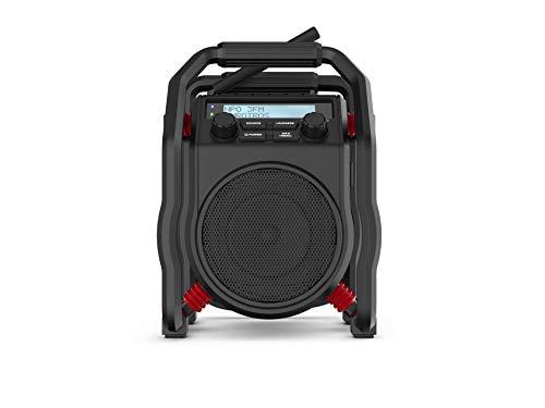 PerfectPro Baustellenradio UBOX400R, DAB+ und UKW-Empfang, Bluetooth, Radio mit AUX, Stoßfest, Wiederaufladbar, IP64