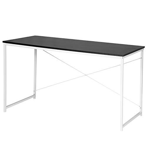 WOLTU TSB08sz Schreibtisch Computertisch Büromöbel PC Tisch Bürotisch Arbeitstisch aus Holz und Stahl, ca,120x60x70 cm, Schwarz+Weiß