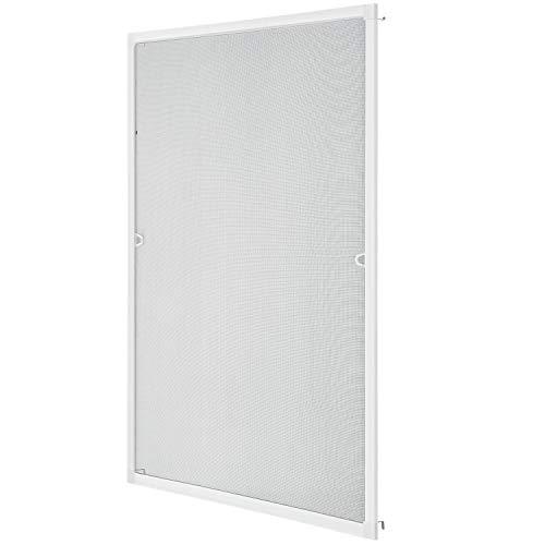 Fliegengitter mit Alu-Rahmen 80 x 100 cm – Insektenschutz & Mückenschutz für Fenster zum Einhängen – Insektenschutzgitter UV-beständig in Weiß