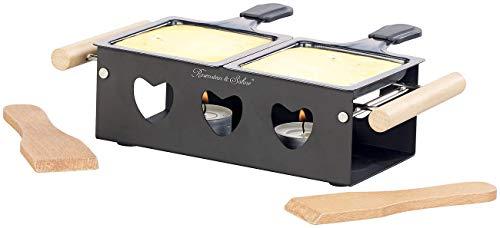 Rosenstein & Söhne Raclette Kerzen: Teelicht-Raclette für 2 Personen, mit Schabern und Teelichtern (Raclette Teelichtofen)