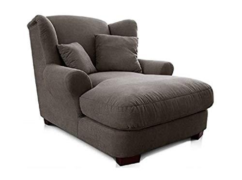 CAVADORE XXL-Sessel Oasis / Großer Polstersessel im modernen Design / Inkl. 2 schöne Zierkissen / 120 x 99 x 145 / Webstoff in Dunkelgrau