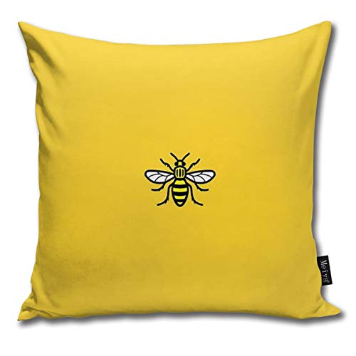 TopYYing Throw Pillow Cover Square Manchester Worker Bee Pillow Cover for Sofa Bedroom Car Decor 18 x 18 Inch 45 x 45 cm