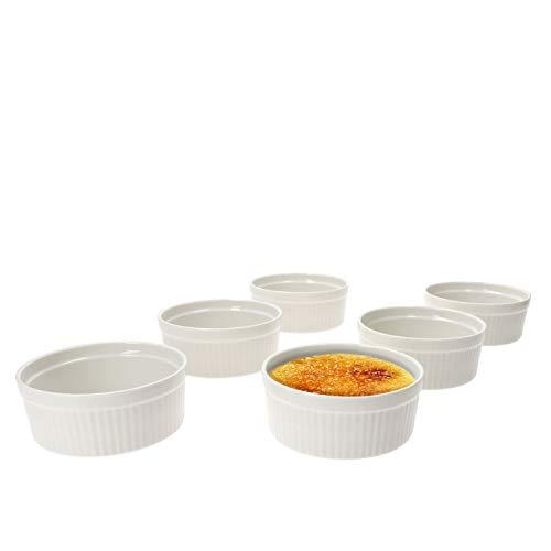 MamboCat 6er Set Muffin Förmchen Bianca weiße Auflaufform 250 ml I Creme Brulee Schälchen Set Porzellan spülmaschinenfest I Souffleeförmchen backofenfest I kleine Dessertschalen Ø 11,5 cm