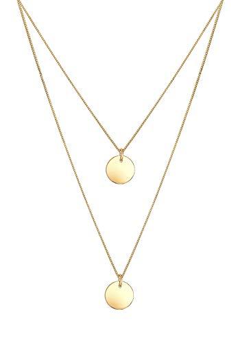 Elli Halskette Damen Plättchen Anhänger 2-lagig in 925 Sterling Silber