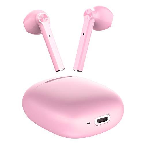 LETSCOM Bluetooth Kopfhörer, Bluetooth 5.0 kabellose Kopfhörer in Ear, 20 Std Spielzeit, Bluetooth Ohrhörer mit Mikrofon für Sport Arbeit rosa