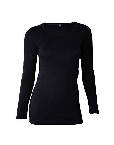 Dilling Merino Langarmshirt für Damen - Extra Feine Unterwäsche aus 100% Bio Merinowolle Schwarz 42