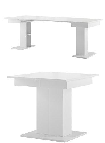 furniture24-eu Tisch Star Esstisch Säulentisch ausziehbar (Weiß matt)