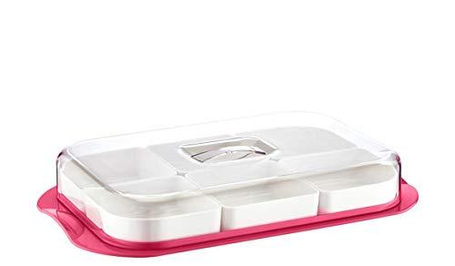 Servierschalen Set mit Deckel | Servierplatte 6-fach geteilt ideal für Frühstück, Antipasti Platte, Snacks & Dips | Süßigkeiten Snackschale Servier Set Box 36x6 cm | Servierset (Rechteckig Rot)