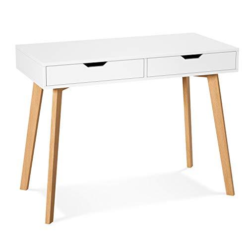 Homfa Schreibtisch mit 2 Schubladen 100x50x77cm(BxTxH) Computertisch Arbeitstisch Schminktisch ohne Spiegel Bürotisch aus Holz und Eiche Nordisches Design modern weiß