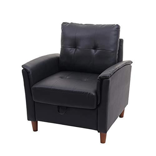 Mendler Sessel HWC-H23, Loungesessel Cocktailsessel Relaxsessel Fernsehsessel, Stecksystem Staufach - Kunstleder, schwarz