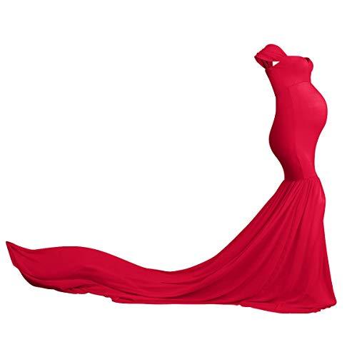 FYMNSI Umstandskleid Schwangere Elegante Fotografie Stützen Mutterschaft Schulterfreies Meerjungfrau Langes Abendkleid Damen Chiffon Hochzeit Maxikleid Fotoshooting Kostüme Umstandsmode Kleidung Rot