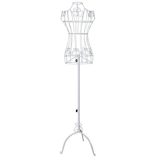 SONGMICS Schneiderpuppe weiblich, Schaufensterpuppe aus Metall, Mannequin, Damenbüste, Schneiderbüste, 114-170 cm, höhenverstellbar, Vintage, weiß HRA10W