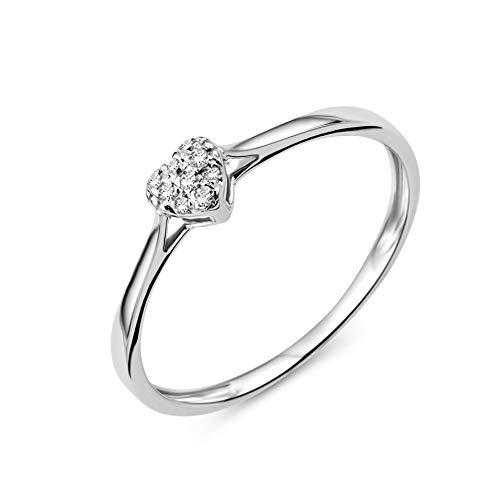 Miore Ring Damen Diamant Verlobungsring Herz Weißgold 9 Karat / 375 Gold Diamanten Brillanten 0.04 Ct, Schmuck