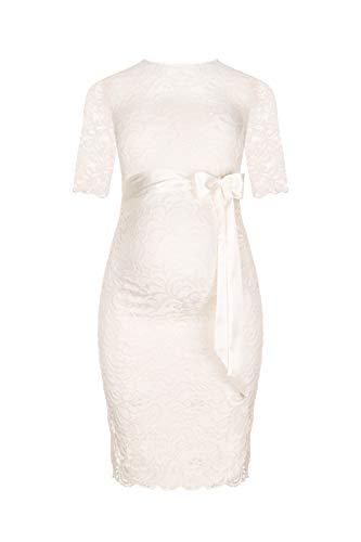 Herzmutter Umstands-Spitzen-Kleid - Elegantes-knielanges-Schwangerschafts-Kleid - für Festliche Anlässe-Hochzeit-Feier - Mit Spitze - Creme-Weiß-Champagner-Blau-Rot-Rosé - 6200 (Creme-Weiß, L)