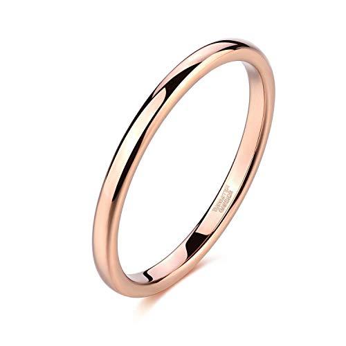 Titaniumcentral 2mm Silber Herren Damen Wolfram Ring Wolframcarbid Ringe Hochzeit Ehering Verlobungsringe Polierte (2mm-Rose Gold, 49 (15.6))