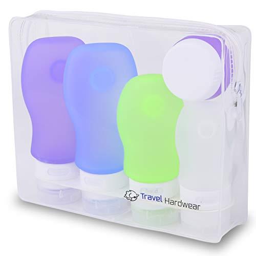 Travel Hardwear Reise Flaschen Set & Kulturbeutel - Farbige Silikon Fläschchen mit Saugnapf und Flugzeug Kulturtasche für Handgepäck Kosmetiktasche Reiseflaschen für Shampoo Creme Spülung Körperpflege