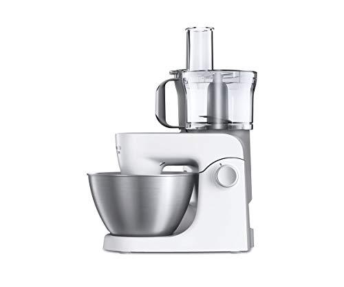 Kenwood MultiOne KHH323WH Küchenmaschine, 4,3 l Edelstahl Schüssel, 1000 Watt, inkl. 3-teiligem Patisserie-Set, Zerkleinerer, Glas-Mixaufsatz, Zitruspresse, Fleischwolf und Spritzschutz, Weiß