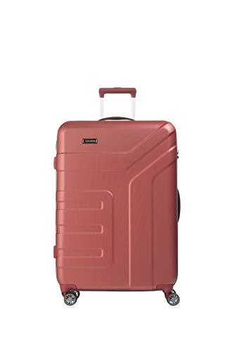 travelite 4-Rad Koffer Größe L mit TSA Schloss, Gepäck Serie VECTOR: Robuster Hartschalen Trolley in stylischen Farben, 072049-88, 77 cm, 103 Liter, koralle (rot)