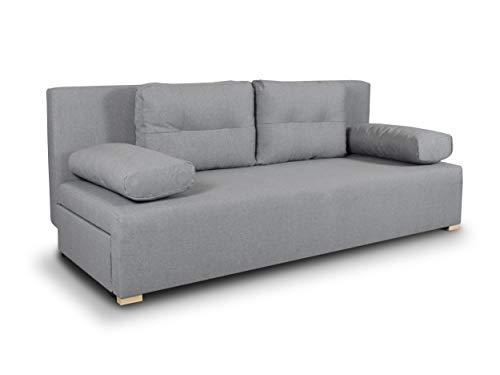 Schlafsofa Nessa - Klappsofa mit Bettkasten, Sofa mit Schlaffunktion, Bettsofa, Schlafcouch, Couch, Couchgarnitur, Sofagarnitur, Wohnzimmer (Grau (Inari 91))