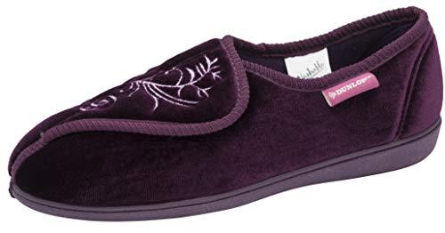 Dunlop Bluebell Damen-Hausschuhe, maschinenwaschbar, mit Klettverschluss, Violett - deep purple - Größe: 39 EU