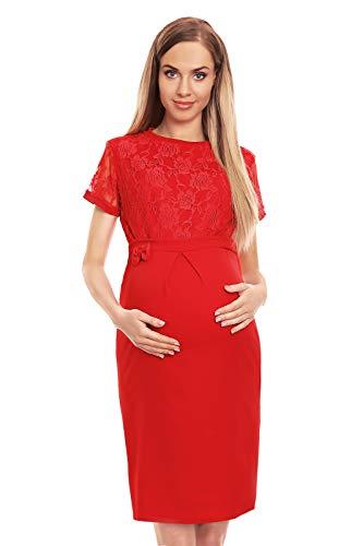 Selente Mummy Love 0127 festliches Umstandskleid (Made in EU) Schwangerschaftskleid, mit Spitze Rot, Gr. S/M