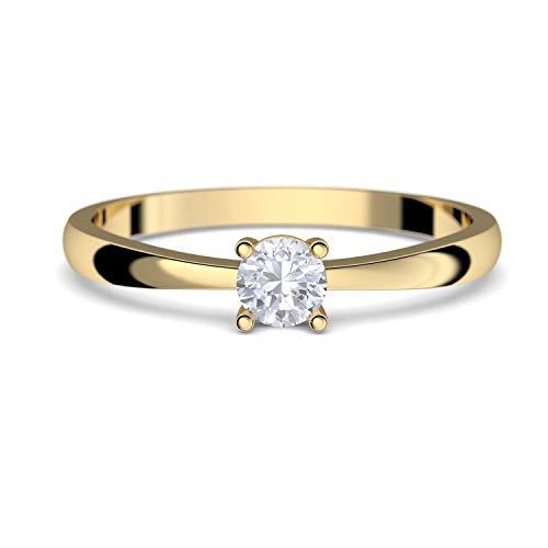 Verlobungsringe Gold 333 *** GRATIS LUXUSETUI *** Goldring 333er Gold Ring echt von AMOONIC mit Zirkonia Stein Goldring Gelbgold wie Verlobungsring Diamant Ring Gold Solitär FF385GG333ZIFA52