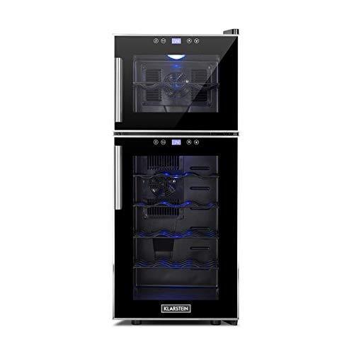 Klarstein Reserva 21 - Weinkühlschrank mit Doppel-Glastür, Getränkekühlschrank, Nutzungsinhalt: 56 Liter, 21 Flaschen, 2 separate Kühlzonen, Touch-Bedienung, LED-Anzeige, 40 dB leise, schwarz