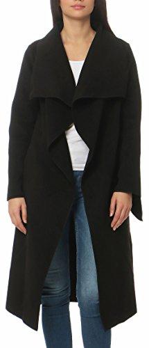 malito Damen Mantel lang mit Wasserfall-Schnitt   Trenchcoat mit Gürtel   weicher Dufflecoat   Parka - Jacke 3040 (schwarz)