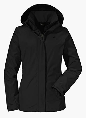 Schöffel Jacket Sevilla2, wind- und wasserdichte Outdoorjacke aus atmungsaktivem Material, leichte Regenjacke für Frauen Damen, black, 42
