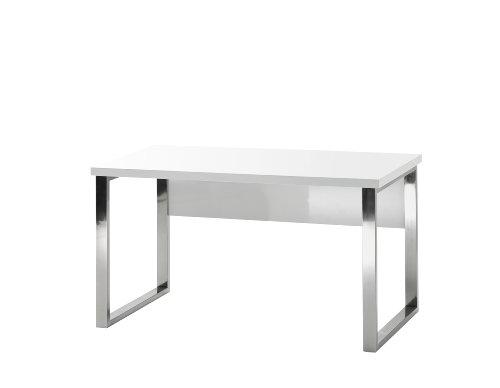 Robas Lund Schreibtisch weiß Hochglanz, Computertisch, Home Office Schreibtisch, BxHxT 140 x 70 x 76 cm