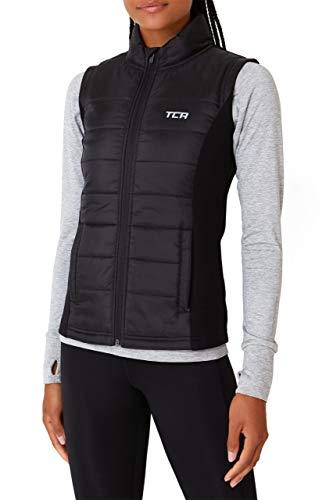 TCA Excel Runner Damen Laufweste mit Reißverschlusstaschen für den Winter - Weste Damen Ärmellos - Black Stone (Schwarz), Medium