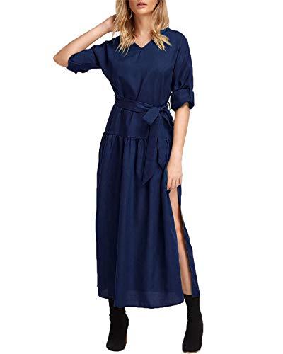 YOINS Pullover Kleid Damen Kleider Elegant Strickkleid V-Ausschnitt Langarm Tunika Kleid Maxikleid Dunkelblau XL