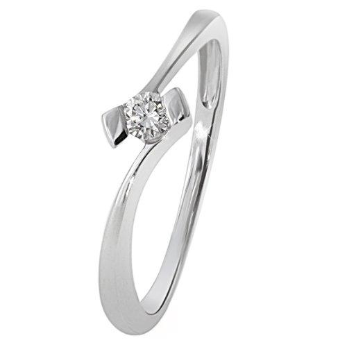 Goldmaid Damen-Ring 18 Karat 750 Weißgold Verlobungsring Solitär 1 Brillant 0,10 ct. Gr. 54 (17.2) So R3925WG75055 Schmuck