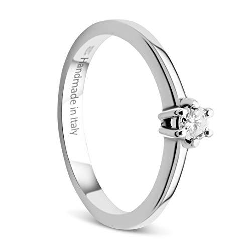 Orovi Damen Ring Weißgold 0.15 Ct Solitär Diamant Verlobungsring 14 Karat (585) Gold und Diamant Brillanten Ring Handgemacht in Italien