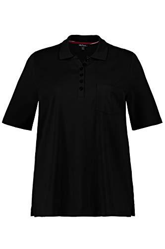 Ulla Popken Damen Brusttasche Pima Cotton, Classic Poloshirt, Schwarz (Schwarz 10), (Herstellergröße: 58+)
