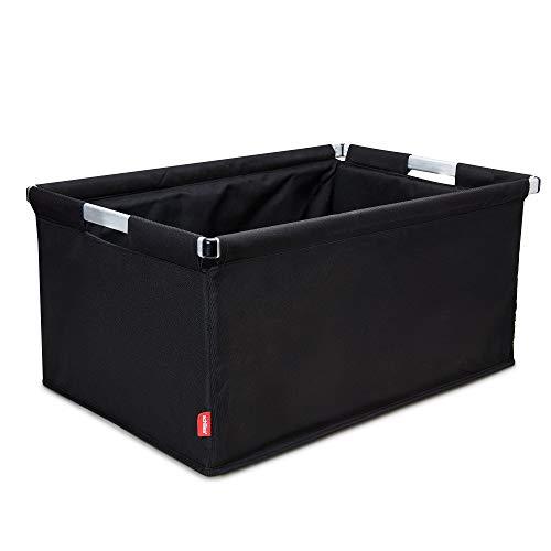 achilles Transportkiste, Big-Box Alu, Einkaufskorb kombinierbar mit Kühleinsatz, Klappbox mit Alurahmen, Transportbox, Kofferraumbox, Faltbox, schwarz, 61,5 cm x 42 cm x 29 cm
