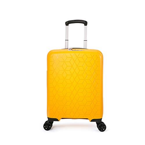 ABISTAB Verage Diamond 4-Zwillingsrollen-Koffer, TSA-Schloss, erweiterbar, PP Hartschale Handgepäck Rollkoffer S-55cm, Carry-on Cabin-Size Gelb