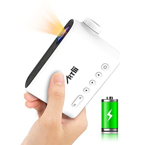 Mini Beamer Akku - Artlii Q Mini Projektor Batterie Draussen Für Filme und Cartoons Klein Beamer Für Kindergeschenk, Heimkino Pico Projector Kompatibel Mit TV Stick, Smartphone, Laptop, PS4, HDMI