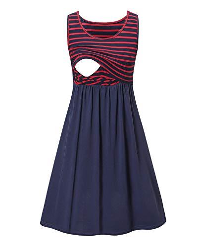 Love2Mi Damen Umstandskleid Streifen Stillkleid Ärmellos Schwangere Sommerkleid-Roter Streifen / Blau-XL