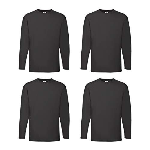 4 Fruit of the Loom T Shirt Longsleeve M L XL XXL Langarm verschiedene Farbsets auswählbar (M, Schwarz)