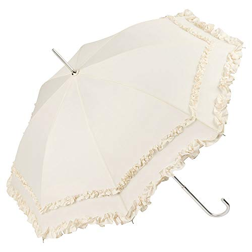 VON LILIENFELD Regenschirm Sonnenschirm Brautschirm Hochzeitsschirm Kostüm Tracht Auf-Automatik Mary Creme Rüschen