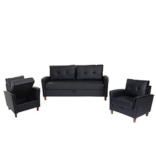 Mendler 3-1-1 Couchgarnitur HWC-H23, 3er Sofa Sofagarnitur Loungesessel Relaxsessel, Gastronomie Staufach - Kunstleder, schwarz